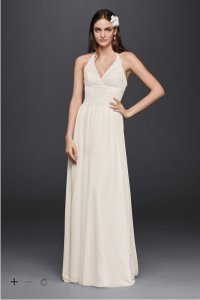 David's Bridal Galina Lace Halter Wedding Dress Wedding Dress