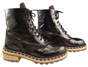 Chanel Chain Combat Patent Leather Lace black Boots