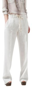 Zara Linen Resort Relaxed Pants white