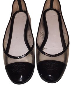 Chanel clear and black detailing Flats