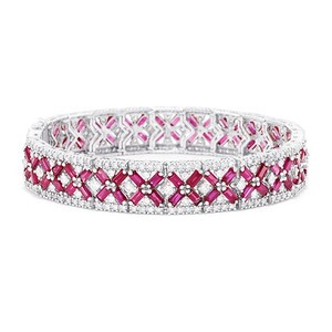 EFFY Effy 14K White Gold Ruby and Diamond Bracelet, 14.1 TCW