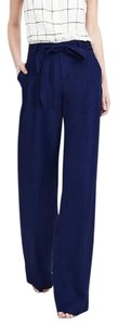 Banana Republic Belted Wide Leg Pants Navy Blue