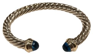 David Yurman classic sterling silver cable bracelet with aquamarine blue stones