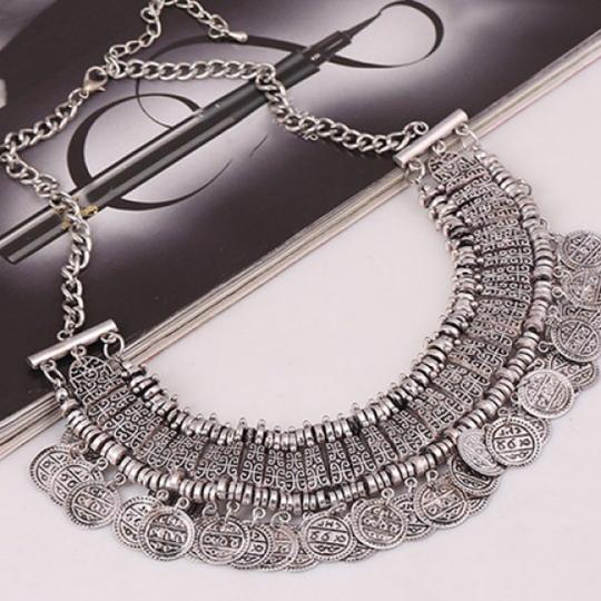 Boho Coin Necklace Coin Tassel Necklace Image 1