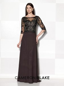 Cameron Blake Eggplant Mother Of The Bride Or Groom Or Wedding Guest Dress Lace & Chiffon Cameron Blake Style 215643 Dress