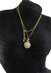 Chanel CC Pearl Like Accents Domed Cap Pendant Accessory Necklace