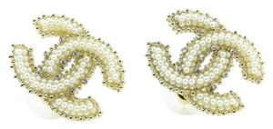 Chanel CC Pearl Like and Crystals Accessory Earrings.