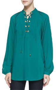Michael Kors Lace-up Gold Flowy Top Sea Green