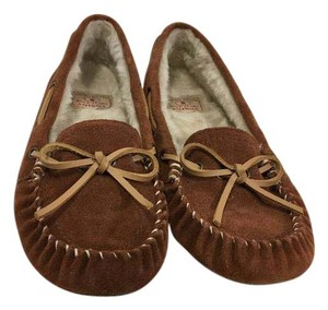 Lucky Brand Faux Fur Brown suede leather warm lining moccasin Flats