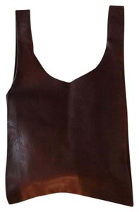 BAGGU Leather Tote in Brown