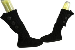 UGG Australia Textile Sheepskin Lined Buttons Black knit fabric convertible knee or ankle fits M Boots