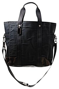 Coach Canvas Leather Trim Tote in Black