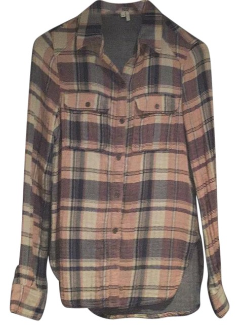 Item - Pink Navy and Cream Plaid Flannel Button-down Top Size 2 (XS)