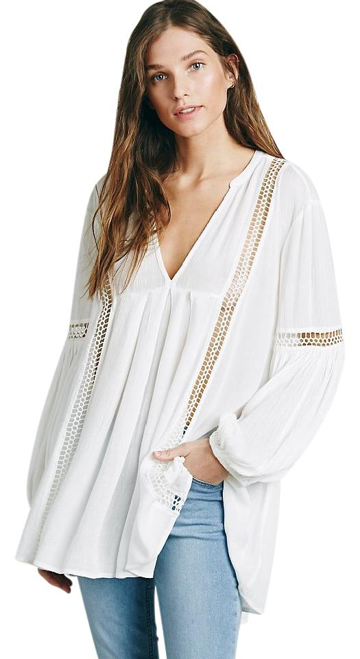 ff73d6dc9f54 Free People White Babydoll Lace Inset Swing Tunic Blouse Size 8 (M ...