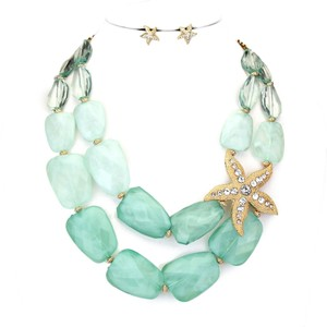 Crystal Accent Gold Starfish Mint Green Double Strand Bib Collar Necklace and Earring Set