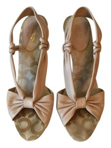 Coach Leather Heels Slingback Beige Nude/Beige Sandals