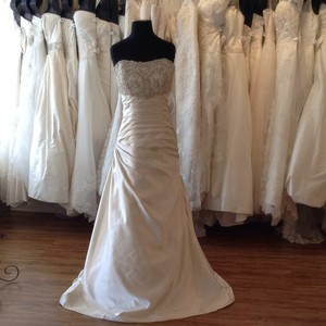 Mori Lee Ivory/Silver Satin Wedding Dress Size 14 (L)