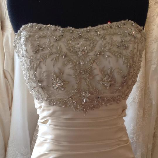 Mori Lee Ivory/Silver Satin Wedding Dress Size 14 (L) Image 1
