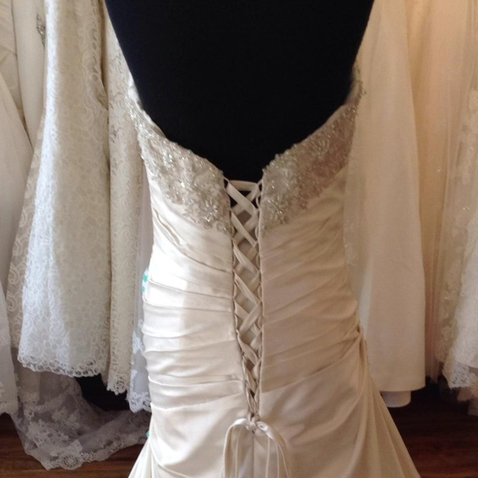 Mori lee ivory silver satin wedding dress size 14 l for Wedding dresses size 14