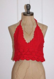 Zara Backless Crochet Halter Crop Halter Top RED