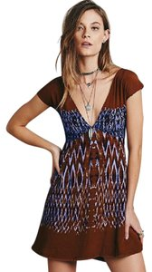Free People short dress MULTI Printed V Neck Relaxed Theodora on Tradesy