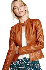 Express Faux Leather Sporty Toffee Jacket
