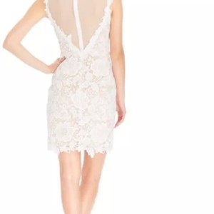 Betsy & Adam Lace Illusion Sheath Dress Wedding Dress