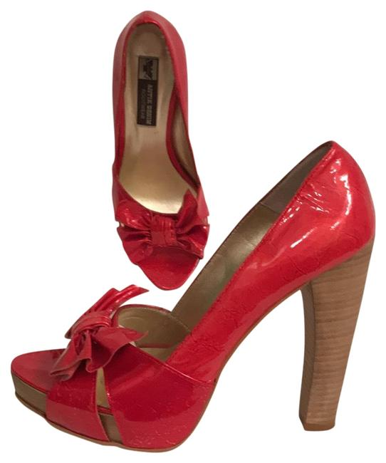 Item - Red Gold Sexy Textured Patent Leather Beekaboo Open Toe Platforms Size US 7.5 Regular (M, B)