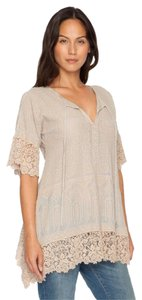 Johnny Was Cotton Crochet Embroidered V-neck Tunic