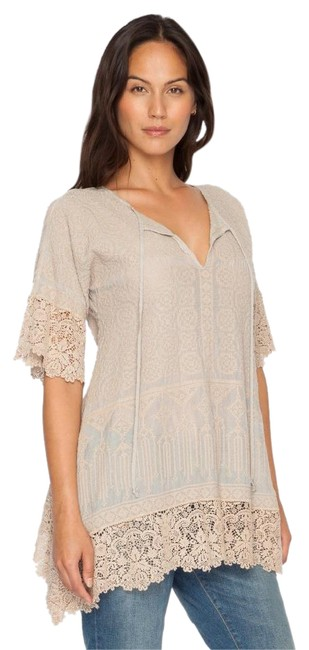 Johnny Was Cotton Crochet Embroidered V-neck Tunic Image 0