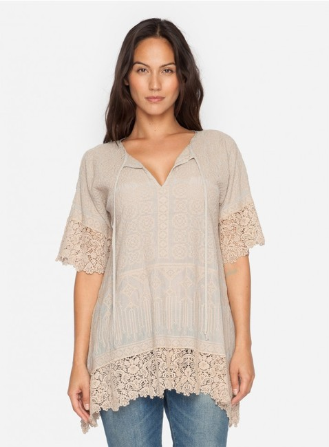Johnny Was Cotton Crochet Embroidered V-neck Tunic Image 6