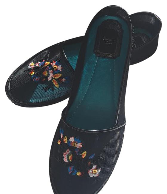 Item - Black and Multi Colored Embroidery Mesh Espadrille Flats Size US 9 Regular (M, B)