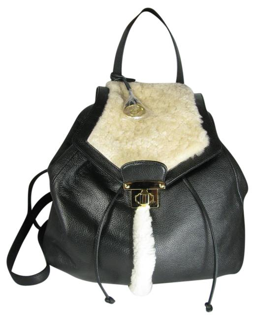 Item - New Genuine Leather/ Black/ White Leather/ Shearling Backpack