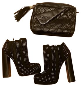 Topshop Gold Studded Premium Suede Leather Black Boots