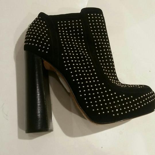 Topshop Gold Studded Premium Suede Leather Black Boots Image 3