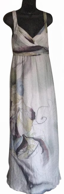 Item - Gray Silk Floral Long Casual Maxi Dress Size 4 (S)