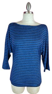 Ann Taylor LOFT Casual Striped T Shirt Blue Grey White