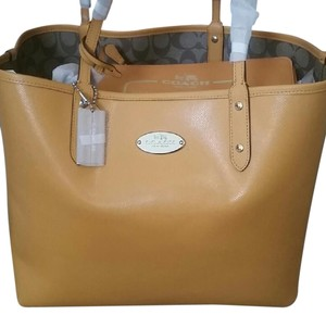 Coach Leather Leather Monogram Tote in Mustard