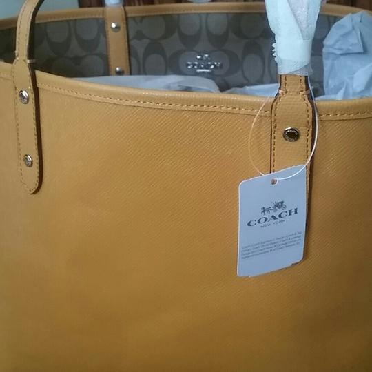 Coach Leather Leather Monogram Tote in Mustard Image 1