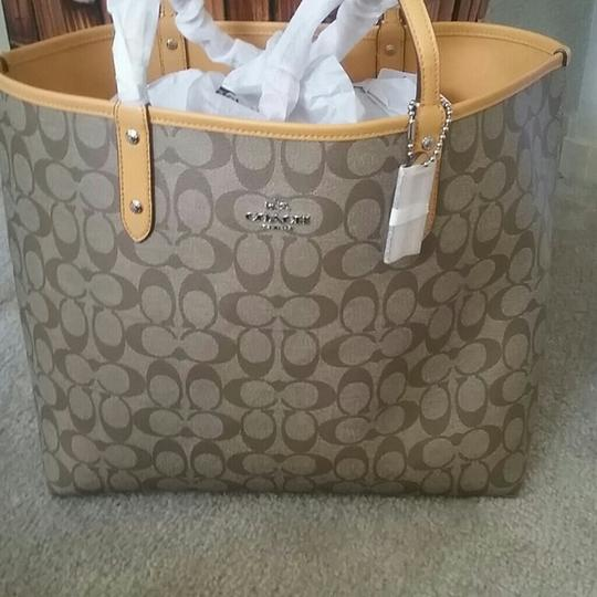 Coach Leather Leather Monogram Tote in Mustard Image 2
