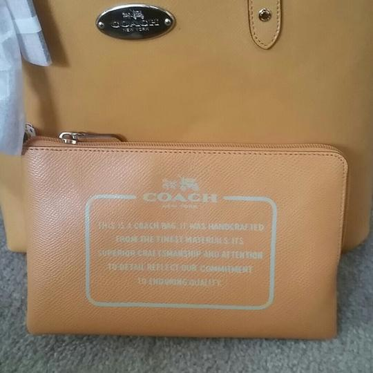Coach Leather Leather Monogram Tote in Mustard Image 3