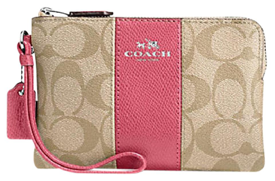 2a638611 Coach Corner Zip 58035 Signature Light Khaki/Strawberry Canvas ...