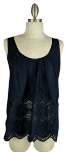 Romeo & Juliet Couture Eyelet Lace Casual Top Navy