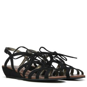 Carlos by Carlos Santana Strappy Suede Wedges Black Sandals