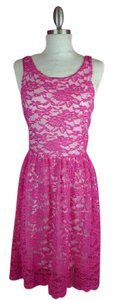 Rachel Kate short dress Pink white Lace on Tradesy