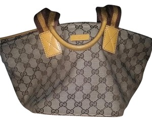 Gucci Leather Monogram Canvas Tote in beige/brown