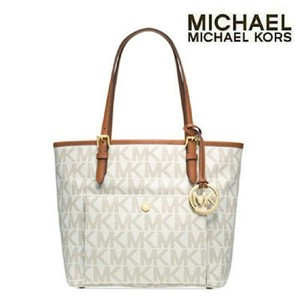 Michael Kors Jet Set Leather Tote in Vanilla