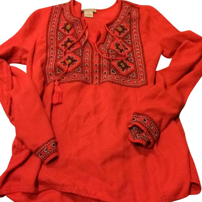 Preload https://img-static.tradesy.com/item/20542289/lucky-brand-red-cotton-tunic-size-0-xs-0-1-650-650.jpg
