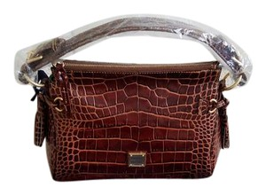 Dooney & Bourke Croco Fino Medium Zip Hobo Bag