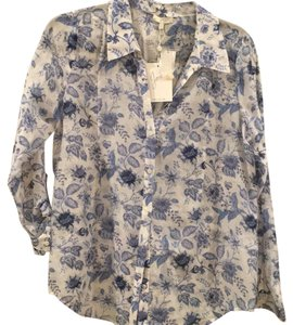 Joie Button Down Shirt white and blue
